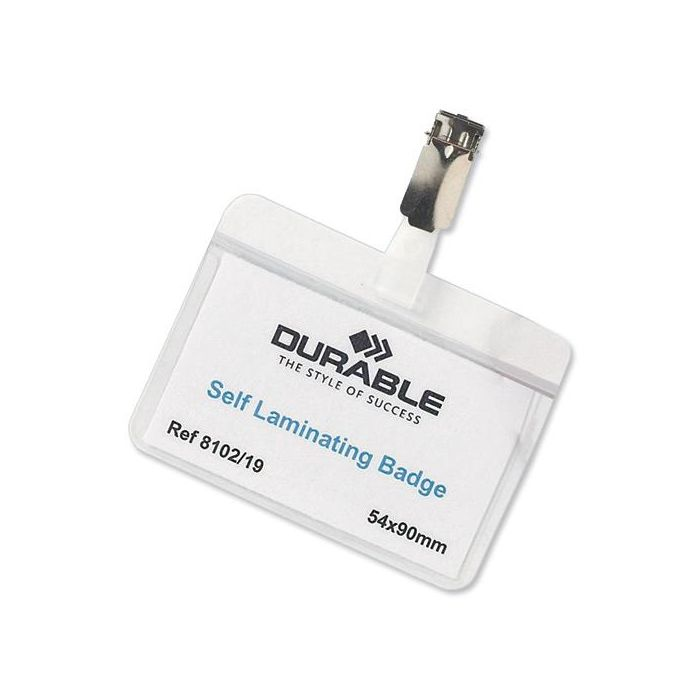 DURABLE  Self Laminating NAME BADGE with Clip