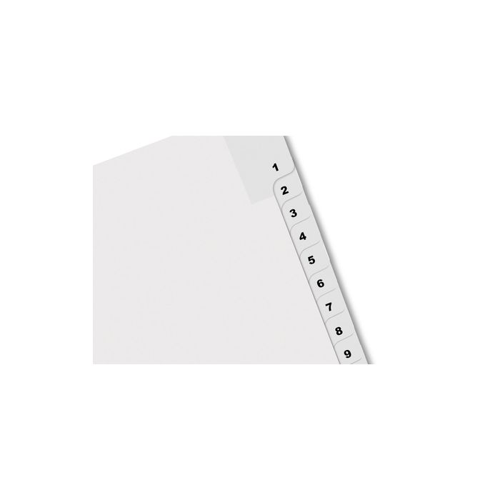 A4 Tab Dividers Printed 1-10  Punched 4 holes